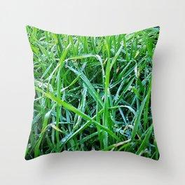 Dewy Grass Throw Pillow