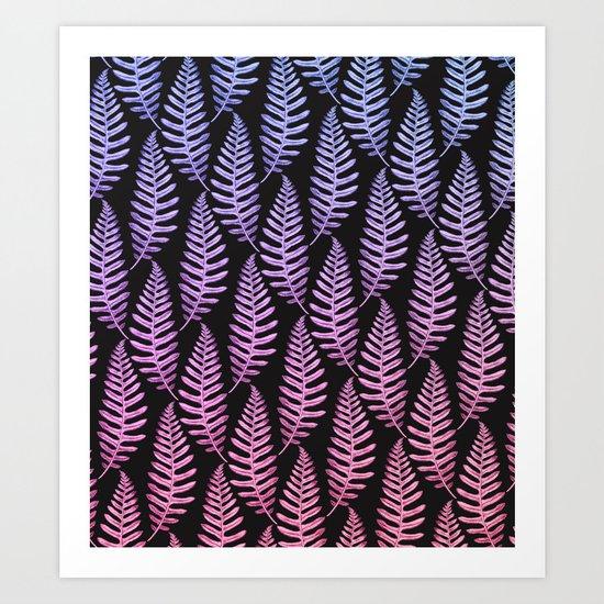 Multi Color Leaves (Black) Art Print