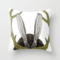 jackalope Throw Pillows featuring Jackalope by Justin McElroy