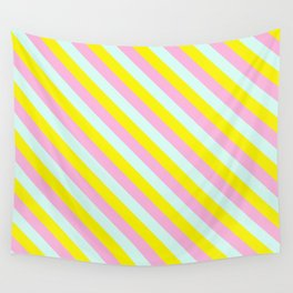 Pink, blue and yellow stripes Wall Tapestry
