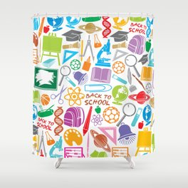 education and school icons background (seamless pattern) Shower Curtain