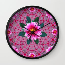 Purple Optical Art Floral Abstracted  Dahlias Pattern Wall Clock