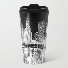 Chicago Cityscape Downtown City River in Black and White Travel Mug