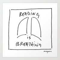 Reading is Breathing Art Print