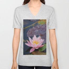 Pink water lily flower Unisex V-Neck
