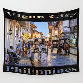 Rush Hour in Vigan City (on black) Wall Tapestry