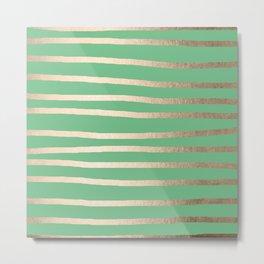 Abstract Drawn Stripes Gold Tropical Green Metal Print