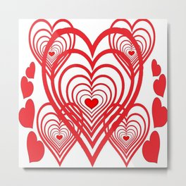 0PTICAL ART RED VALENTINES HEARTS IN HEARTS DESIGN Metal Print