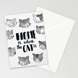 HOME is where the CAT is - black and white Stationery Cards