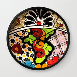 Beautiful Red and Green Talavera Wall Clock