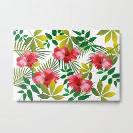 Hibiscus Flower and Leaf Metal Print