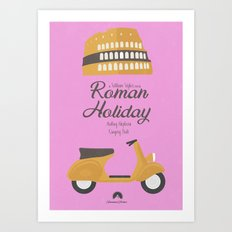 Roman Holiday, Audrey Hepburn, Gregory Peck, William Wyler, movie poster, classic film, old, cinema Art Print