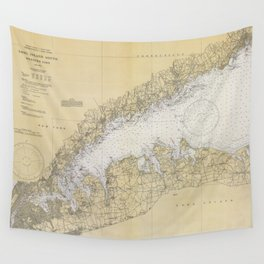 Vintage Map of The Long Island Sound (1934) Wall Tapestry