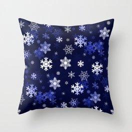 Dark Blue Snowflakes Throw Pillow