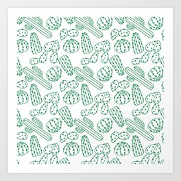 Turquoise cactus line drawing seamless pattern Art Print