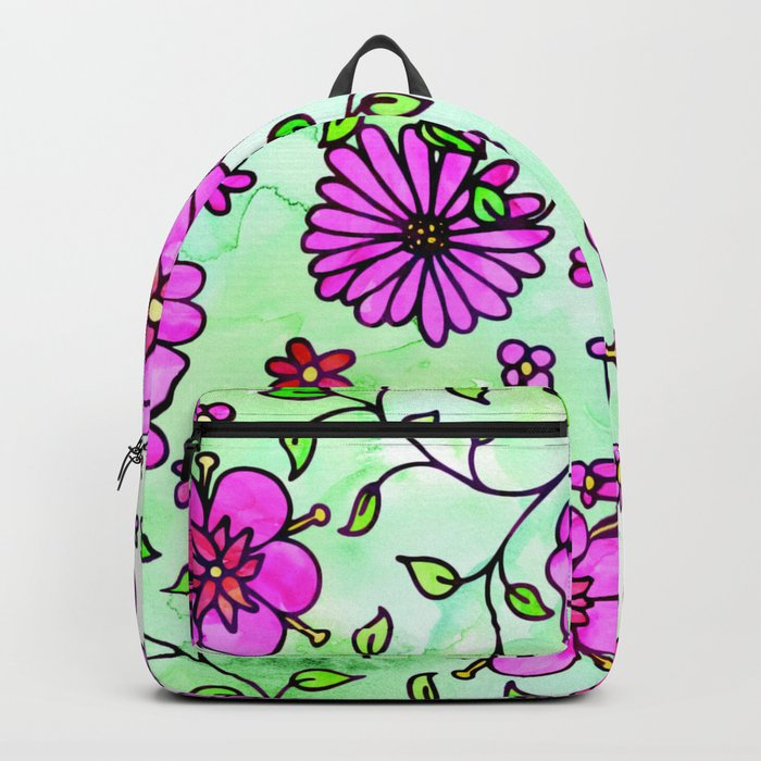 Pink Small Flowers Backpack