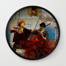 """Sir Lawrence Alma-Tadema """"Love's jewelled fetter (The betrothal ring) Wall Clock"""
