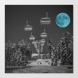 Chair Lift to the Teal Moon Canvas Print