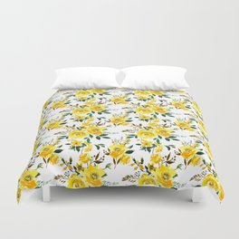 Yellow green white watercolor hand painted floral Duvet Cover