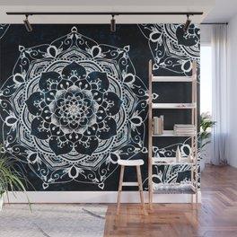 Glowing Spirit Mandala Blue White Wall Mural