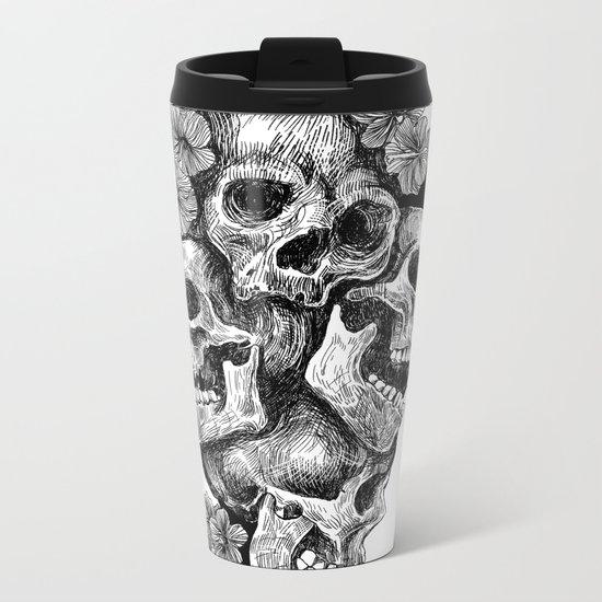 skulls&hibiscus2 Metal Travel Mug