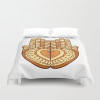 indie Duvet Covers featuring Orange indie hands illustration by Anthesis