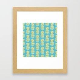 Mid Century Modern Pineapple Pattern Blue and Yellow Framed Art Print