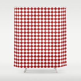 Small Diamonds - White and Firebrick Red Shower Curtain