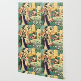 Spring Outing In A Villa Diptych #1 by Toyohara Kunichika Wallpaper