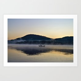 Fishing in the Morning Mist Art Print