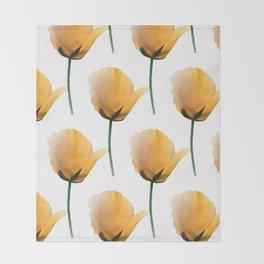 Orange poppies pattern Throw Blanket