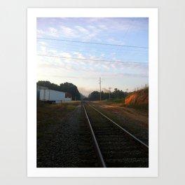 Rustic America: Trains Pass By Art Print
