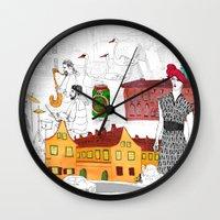 copenhagen Wall Clocks featuring Copenhagen by Nanu Illustration