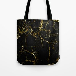Golden Marble - Black and gold marble pattern, textured design Tote Bag