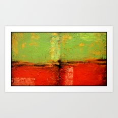 Textured abstract in green and orange Art Print