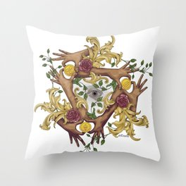 Hands and Coins Throw Pillow