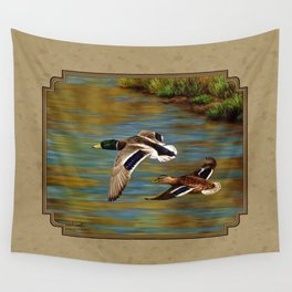 Mallard Ducks in Flight Wall Tapestry