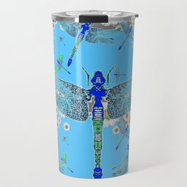 BLUE DRAGONFLIES LILAC WHITE DAISY FLOWERS  ART Travel Mug