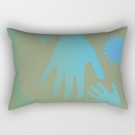 Babysitter Blue Tan Hands Rectangular Pillow