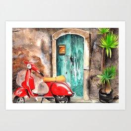 Vespa in italian portal Art Print