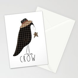 Buffalo Check Gingham Plaid Olde Crow with word typography Stationery Cards