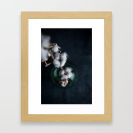 Cotton Plant in Green Bottle - Moody Photography Framed Art Print