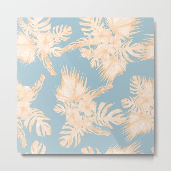 Island Vacation Hibiscus Palm Mango Sky Blue Metal Print