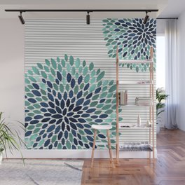 Blooms and Stripes, Aqua and Navy Wall Mural