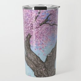 Cherry Blossom Tree Ink and Watercolor  Travel Mug