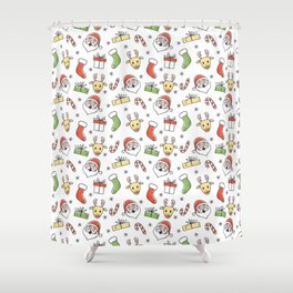 White Christmas Happy Santa and Reindeer Pattern Shower Curtain