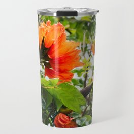 The beautiful red flowers of the African Tulip Tree Travel Mug