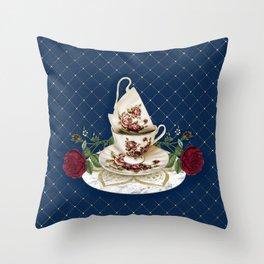 Vintage Rose Tea Cups Throw Pillow