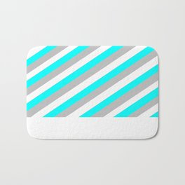 White, Teal and Grey in the softest of shades Bath Mat