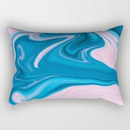 Wavy Pink & Blue (Color) Rectangular Pillow